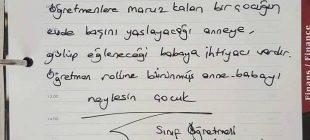 Bir sınıf öğretmeninin öğrencisinin velisine gönderdiği not paylaşım rekoru kırdı