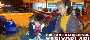 Anneyle oğlu hastane bahçesinde kalıyor! Küçük Eren aydınlatma direğinin altında ders çalışıyor