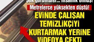 İnsanlık Ölmüş… Camdan düşmek üzere olan çalışanı kurtarmak yerine videoya çekti