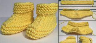 Sarı Renkli Çocuk Patik Yapımı Resimli Anlatım