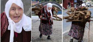 90 yaşındaki Fatma nine sel sularından odun topluyor